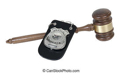 Police Badge and Gavel - Silver special police badge with a...