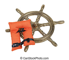 Brass Ship Wheel and Life Vest - Brass ship steering wheel...