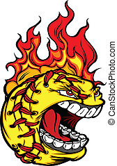 Fast Pitch Softball Face with Flaming Hair Vector Image -...