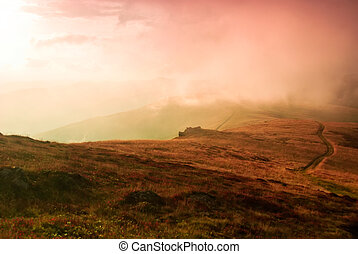 Landscape - Autumnal hills high up in Carpathian mountains...