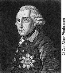 Frederick the Great - Frederick II (1712-1786) on engraving...