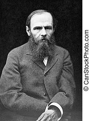 Fyodor Dostoyevsky 1821-1881 on antique print from 1899...