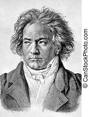 Ludwig van Beethoven (1770-1827) on antique print from 1898....
