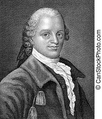 Gotthold Ephraim Lessing (1729-1781) on engraving from 1859....