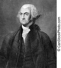 George Washington (1731-1799) on engraving from 1859. First...