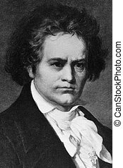 Ludwig van Beethoven (1770-1827) on engraving from 1908....
