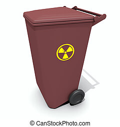 recycle container with radiation sign - isolated recycle...