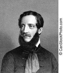Lajos Kossuth (1802-1894) on engraving from 1859. Hungarian...