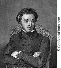 Alexander Pushkin (1799-1837) on engraving from 1859. One of...