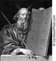 Moses with the tablets of the Ten Commandments on engraving...