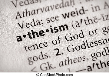 atheism - Selective focus on the word atheism Many more word...
