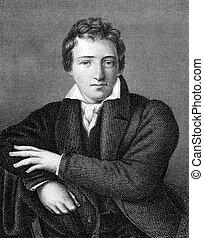 Heinrich Heine (1797-1856) on engraving from 1859. German...