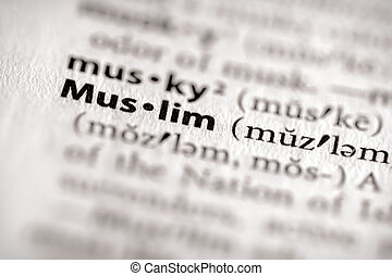 muslim - Selective focus on the word Muslim Many more word...