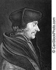 Erasmus - Desiderius Erasmus (1466-1536) on engraving from...