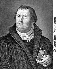Martin Luther (1483-1546) on engraving from 1859. German...