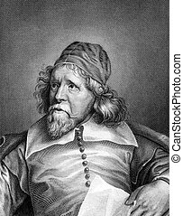 Inigo Jones (1573-1652) on engraving from 1859. British...