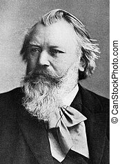 Johannes Brahms (1833-1897) on engraving from 1908. German...