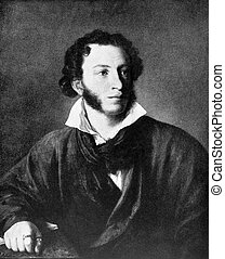 Alexander Pushkin (1799-1837) on antique print from 1899....