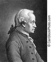 Immanuel Kant 1724-1804 on engraving from 1859 German...