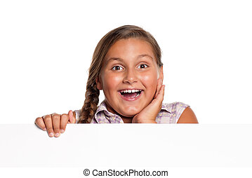 Girl with white blank - Portrait of happy girl with white...