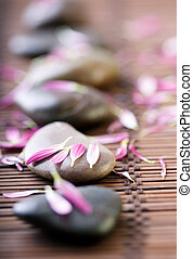 wellness - spa stones with flower petals