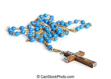 Rosary - Macro of old rosary isolated on white background