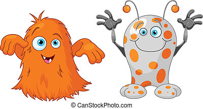 Two cute little monsters - Illustration of two cute little...