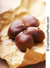 chestnuts - roasted chestnut in brown paper