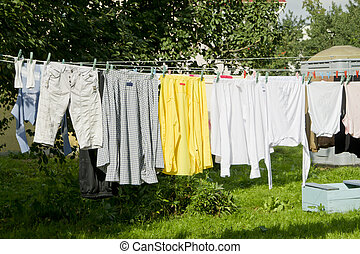 Laundry drying on the clothesline at the garden
