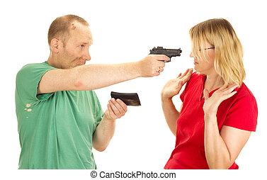 A man hold a woman at gunpoint