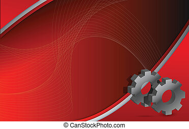 Modern Red wave and Gears illustration design background