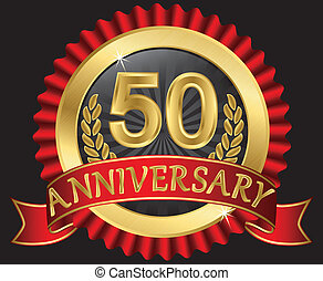 50 years anniversary golden label with ribbons, vector...