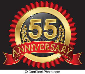 55 years anniversary golden label with ribbons, vector...