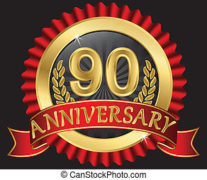 90 years anniversary golden label with ribbons, vector...