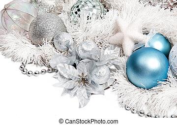 navidad, composición, azul, Pelota, plata, flor