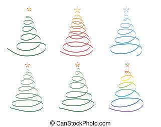 ribbon Christmas trees - set of Christmas trees made of...