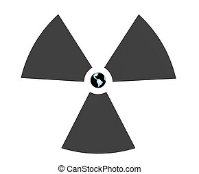 Radioactive 3d symbol with Earth in the center. Object over...