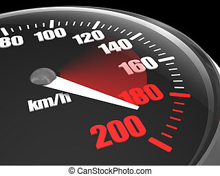 Speed - Full black car speedometer showing speed