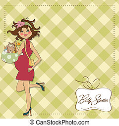 new baby announcement card with pregnant woman