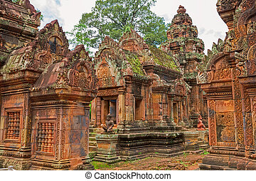 Banteay Srei Wat wide angle detailed view, Siem Reap,...