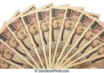 10000 Yen Bill Fan - photo of 10000yen bills aranged in a...