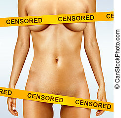 body with censorship tapes - beautiful body of woman covered...