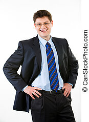 Smiling employer - Portrait of employer in suit on a white...