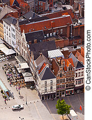 View of the city of Malines Mechelen from height of birds...