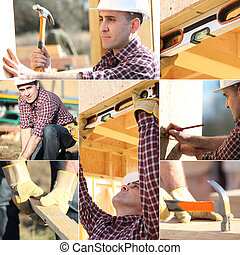 Montage of carpenter working on wooden house