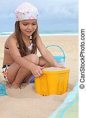 女孩, 海灘, 玩