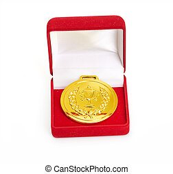 Golden medal in red gift box. isolated