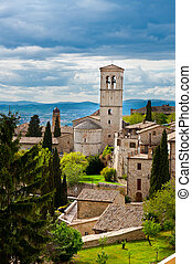 Assisi - Birds Eye View to Historic Center City of Assisi,...