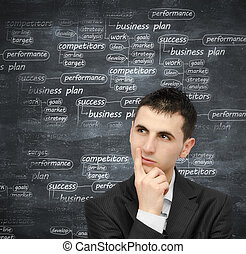 Developing a business plan - Young man thinking at a...