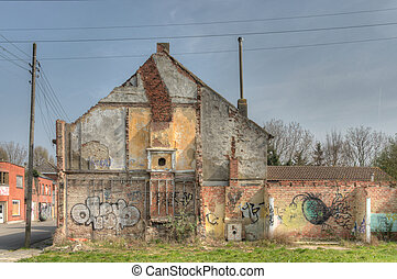 Demolished house in the deserted village of Doel, Belgium